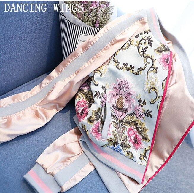 Spring sweet flower embroidery satin jacket coat women Casual baseball jackets female pink coat