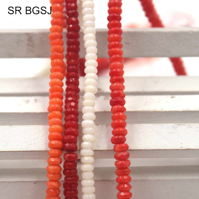 Free Shipping 2x4MM White/ Pink/ Orange / <font><b>Red</b></font> Faceted Real Rondelle Column Natural <font><b>Coral</b></font> Spacer Beads Strand 15