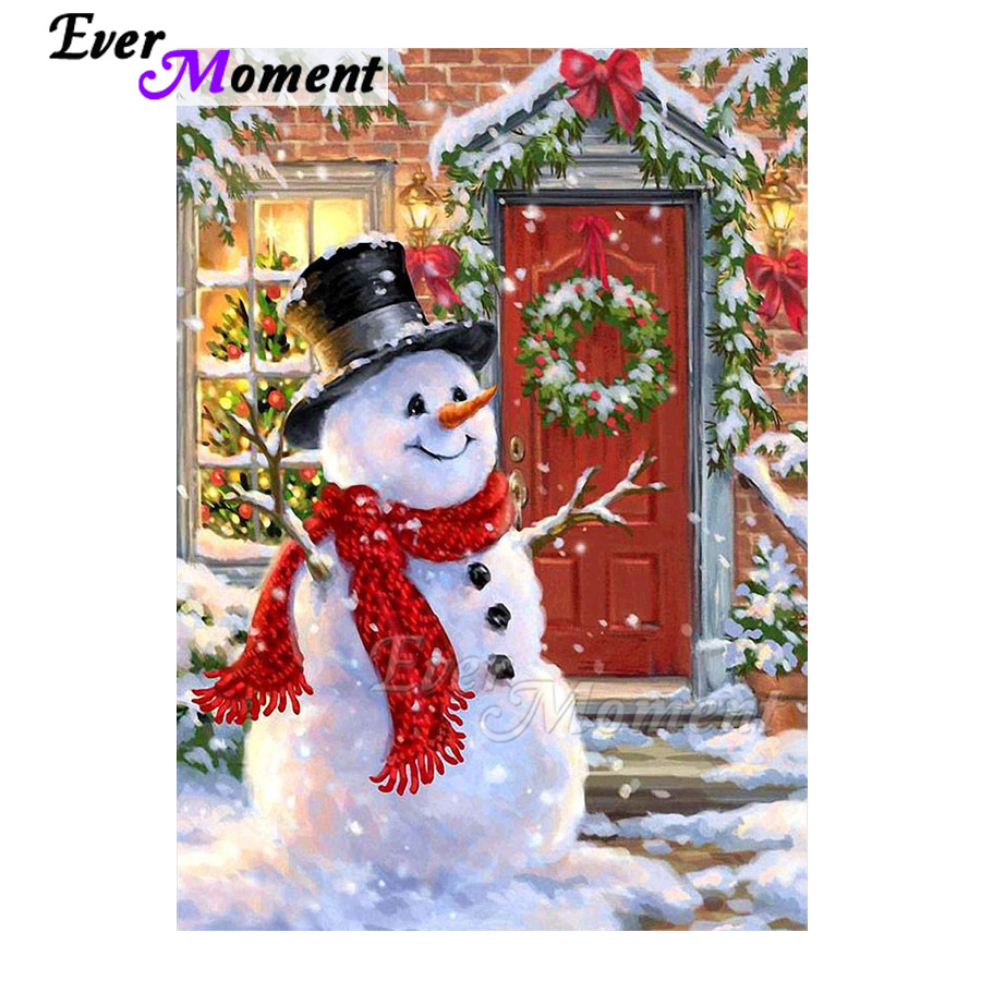 Ever Moment Diamond Painting Full Square Drill Mosaic Snowman Christmas Wall Picture Of Rhinestone Diamond Embroidery ASF1719