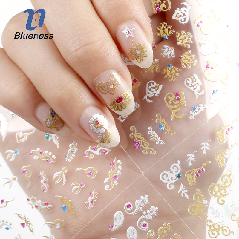 24 Pcs/Lot Gold Colorful Glitter Beauty Design Diy 3D Nail Stickers Decal Manicure Decorations For Nail Art Accessories Nails happyxuan 12pcs lot crystal glitter eva mosaic stickers puzzle kindergarten diy art craft material kit educational toys series q
