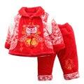 Счастливый Новый Год Костюм для 2-4 Лет Мальчики Девочки Дети Китайский Традиционный Одежда Зимний Хлопка-Ватник + брюки Одежду
