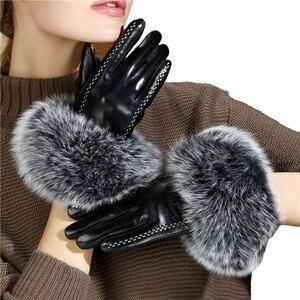 Image 2 - Bayan lüks tilki kürk koyun derisi eldiven kış hakiki deri tam parmak termal sıcak açık eldiven kadınlar dokunmatik ekran siyah