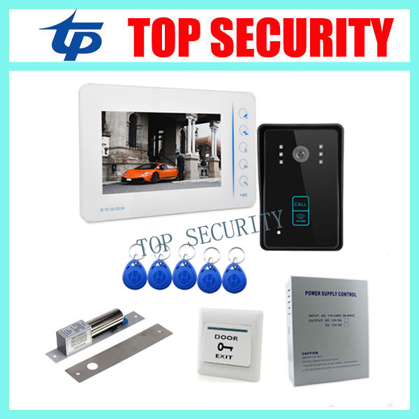 Free shipping 7 TFT color screen video doorbell video doorphone system monitor+RFID access camera+power supply+lock+exit button