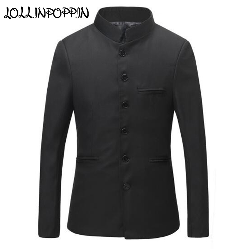 Chinese Collar Black Suit Jacket Men Mandarin Collar Tunic Suit Jacket Mens Traditional Wedding Jacket Single