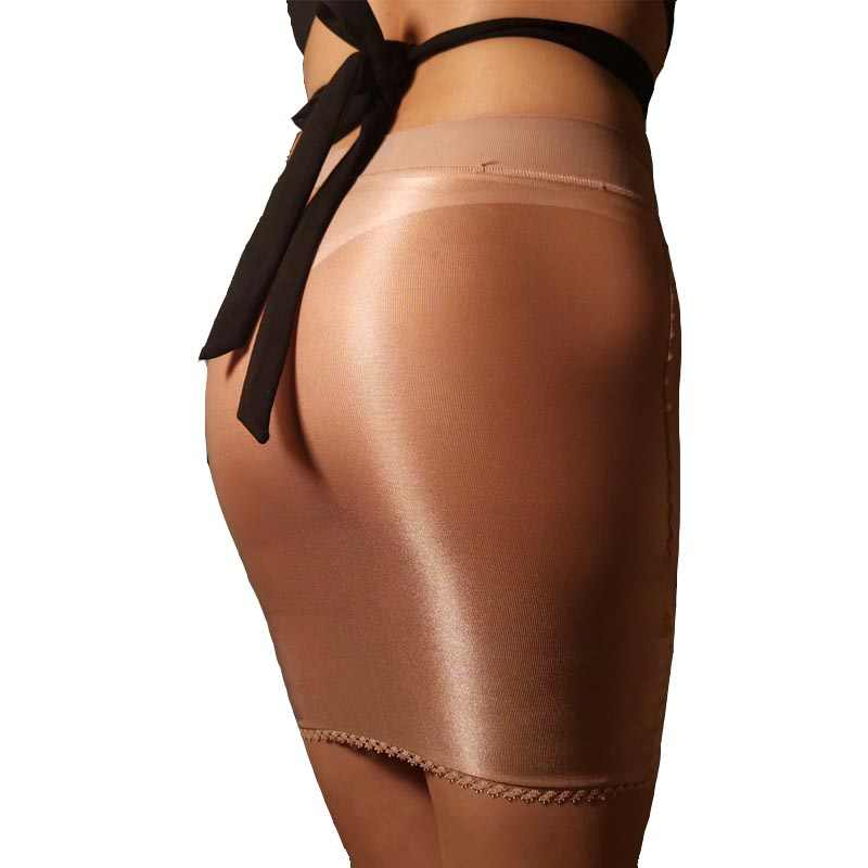 Sexy Vrouw Skinny Glossy Olie Shiny Sheer Lage Taille Mini Rok Body Shaper Afslanken Night Club Fetish Dans Slijtage