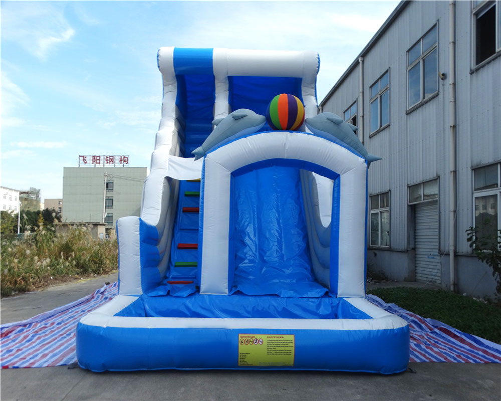 High quality pvc inflatable slide Double dolphins inflatable pool slide for children