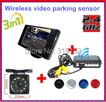 Wireless Video Parking Radar 4 Sensors Kit 3.5 inch Car Rear View Mirror Monitor + LED Rear View Car Camera Parking Assistance 2017 car parking sensors kit car led europe license plate frame rearview camera 4 3 car tft monitor speaker parking assistance