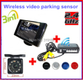 Wireless Video Parking Radar 4 Sensors Kit 3.5 inch Car Rear View Mirror Monitor + LED Rear View Car Camera Parking Assistance