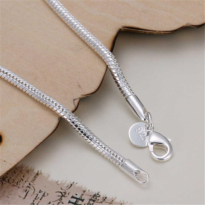 AGLOVER 100% 925 srebrny łańcuszek żmijka łańcuch bransoletka i bransoletka luksusowa biżuteria dla kobiet boże narodzenie wyprzedaż autentyczne