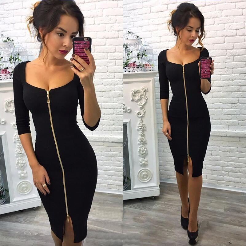 Autumn Dress 2018 New Fashion Women Casual Knitting Bodycon Sexy Club Dress Knee-Length Party Wear Dresses