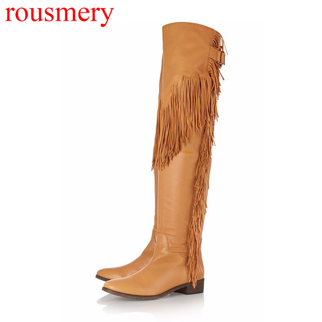 31bb8fa63b8a Fall Fashion Low Heels Long Tassel Embellished Over Knee Boots Women Fringed  Metal Buckle Thigh High Long Botas Shoes EU 34- 46