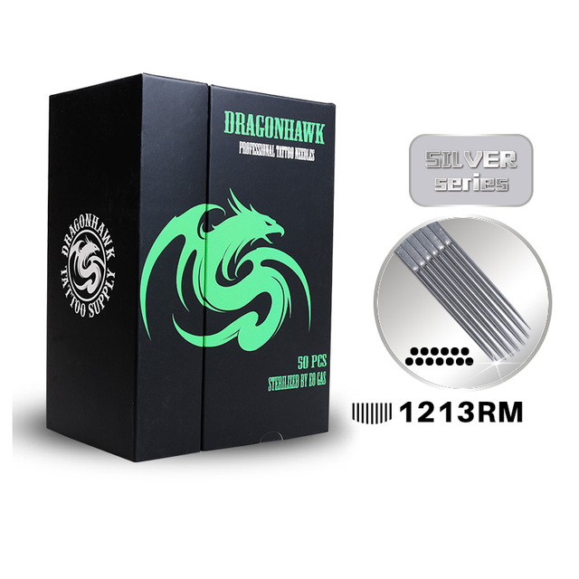 Box Of 50PCS 1213RM Curved Round Magnum Sterile Disposable Dragonhawk Tattoo Needles Supply