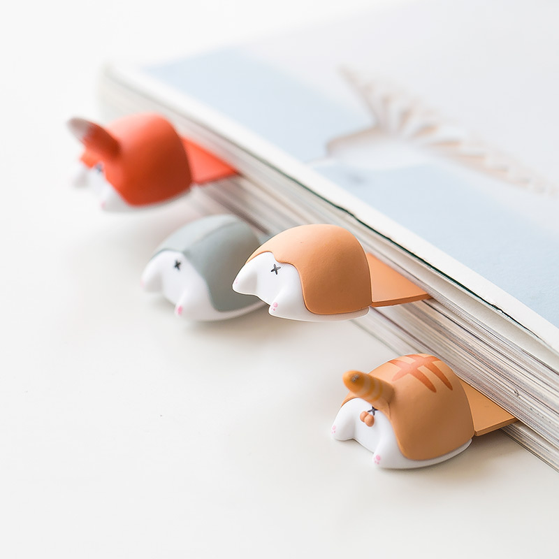 JIANWU 1pc Kawaii Corgi Bookmarks Creative Cute Modeling Dog Butt Bookmark Cartoon Prop Student Stationery School Supplies