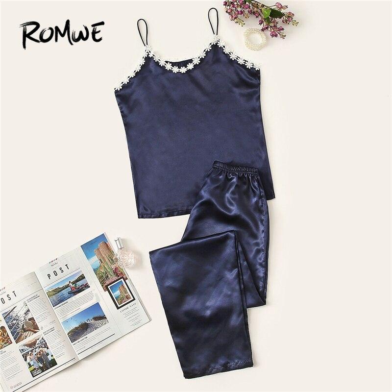 ROMWE Navy Crochet Trim Satin Cami   Pajama     Set   Women Summer Appliques Sleeveless Sexy Spaghetti Strap Nightwear Sleep PJ   Set