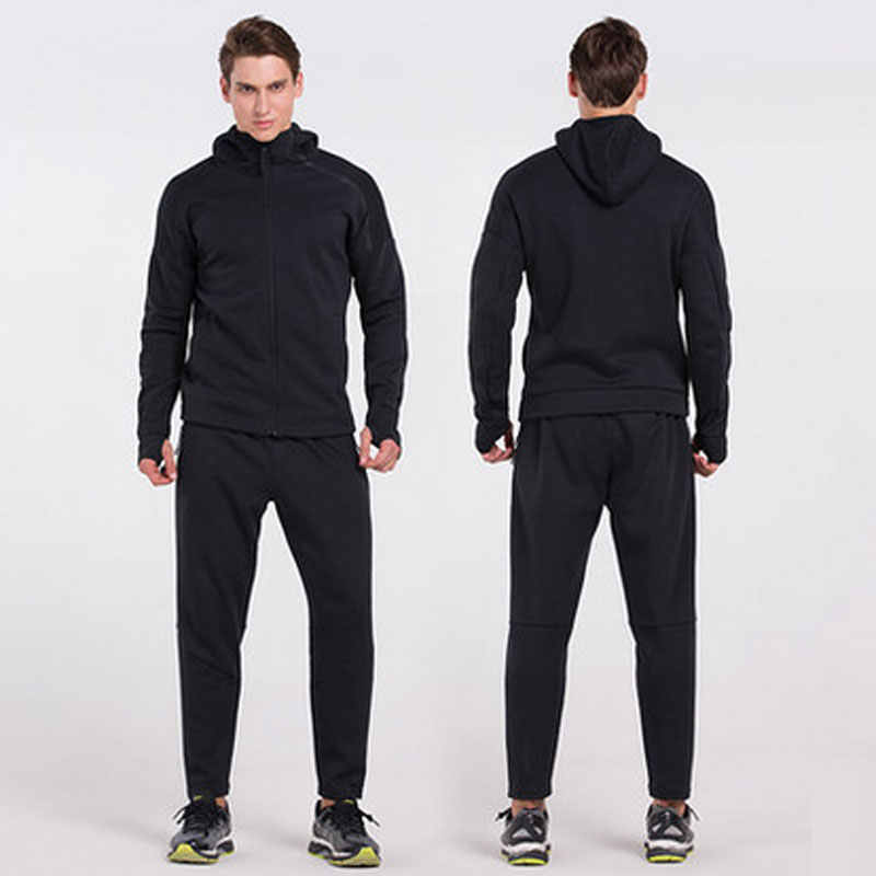 Для Мужчин's для тренировок комплекты куртка с капюшоном и Термические велосипедные штаны Костюмы ветрозащитный термальная спортивная одежда мужской Размеры XXL
