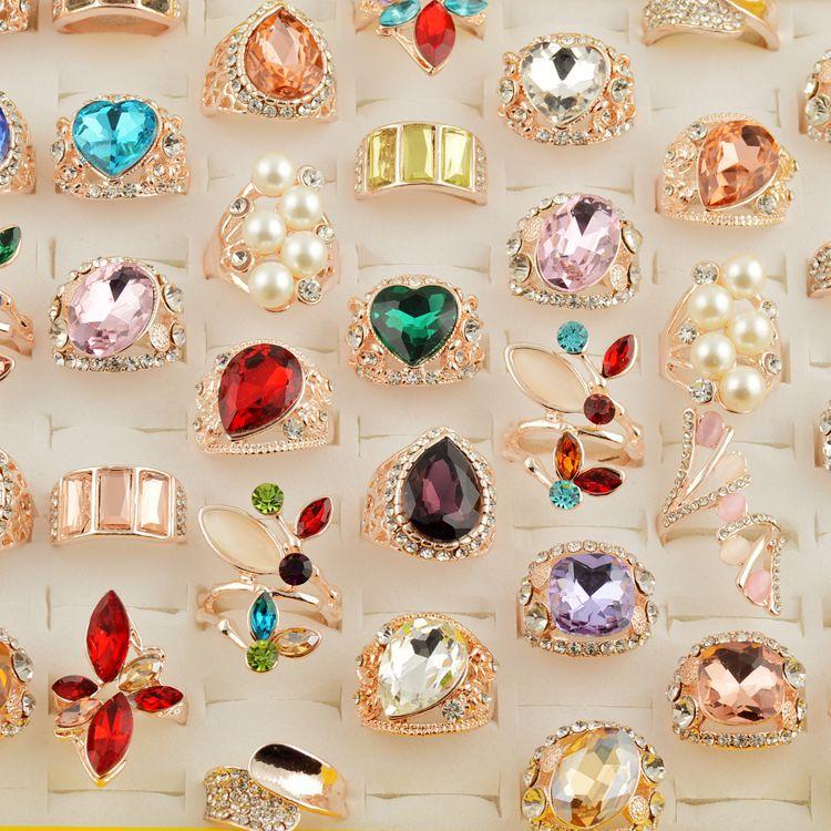 MYDANER 50pcs Lots Wholesale Simulated Pearl Colorful Mixed Ring Crystal Rhinestone Fashion Women Rings Mix Lots
