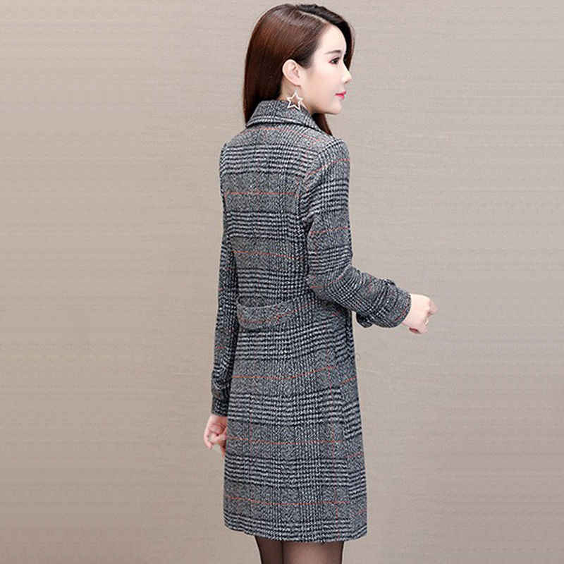 2019 Spring autumn Korea lattice woolen coat Long sleeve elegant women coats New Large size Fashionable female clothing 1082