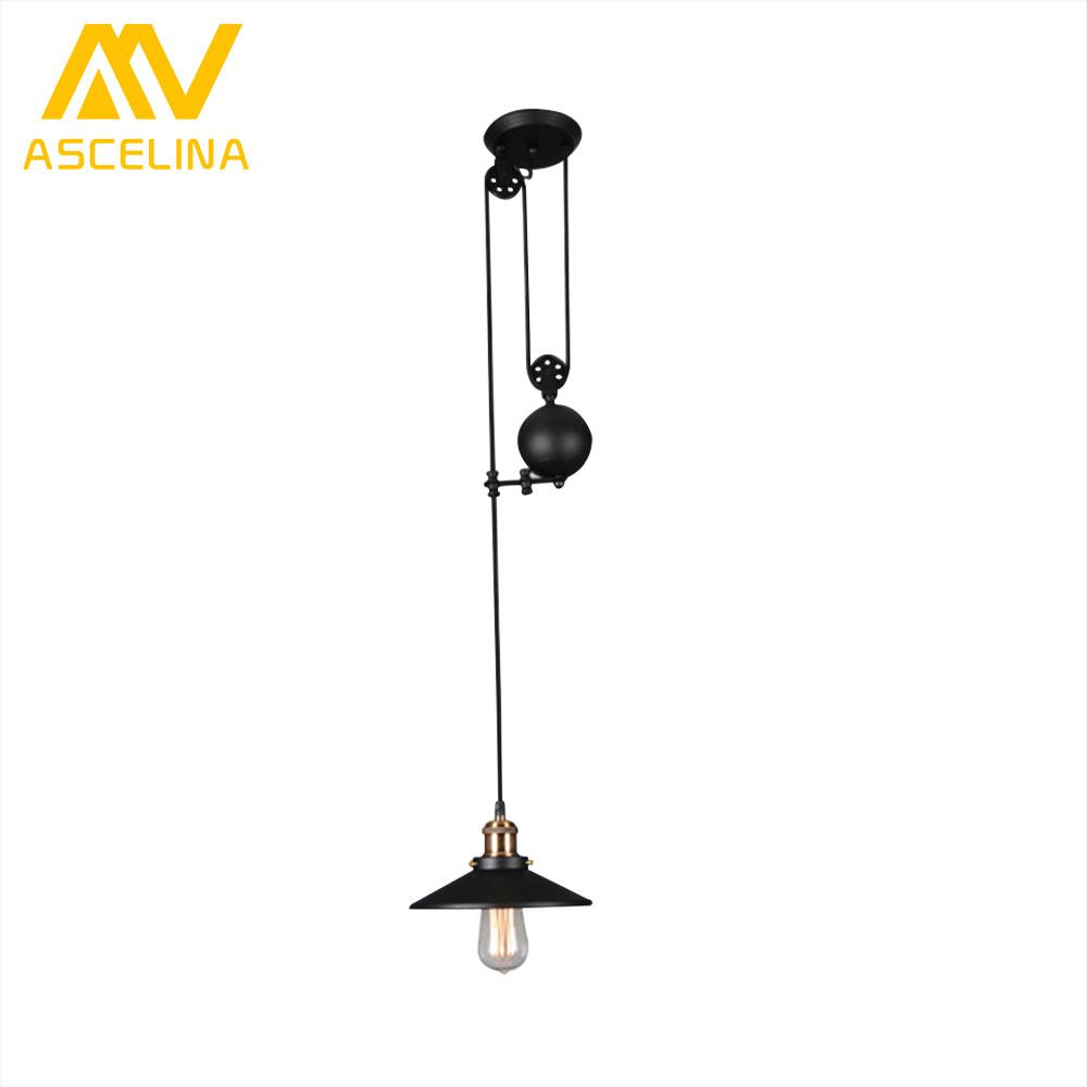 ASCELINA Pendant Light Pulley American Vintage pendant lamps for living room Adjustable LED lights home lighting E27 85-260V купить