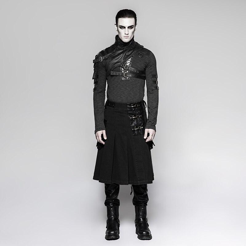 9070c583d Steampunk hombres gótico algodón plisado media falda personalidad atractivo  retro moda punk cintura larga falda