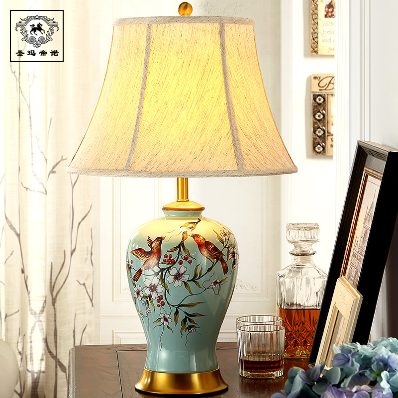 New Classical Hand Painted Chinese Ceramic Linen Lampshade Led E27 Table Lamp For Living Room Bedroom Decor H 60/65cm 1730