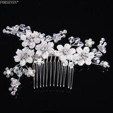 Moda Del Pelo Peines 11 cm Joyería de Perlas Rhinestones Mujeres Horquillas de Plata Nupcial Del ornamento Del Pelo Accesorios de Boda Hecho A Mano de Regalo