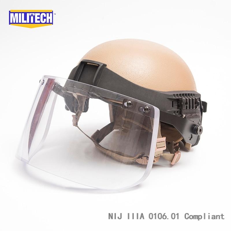 Militech CB High Cut Level IIIA 3A Kevlar Infantry Ballistic Bulletproof Tactical Helmet Visor Set Deal With 5 Years Warranty