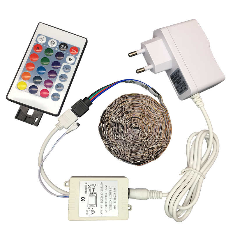 12V LED Strip 5M 300 Leds RGB LED Strip Lampu SMD3528 2835 RGB Flexible Strip Perekat Remote Adaptor pita Home