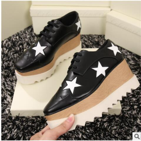 8b971a52260b 2017 Hot Sale Women Lace Up British Style Star Platform Shoes Fashion  Square Toe Weave Flat Heels Gladiator Casual Shoes