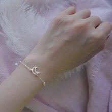 XIYANIKE – Bracelet en argent Sterling 925 avec lune ajourée et perles en zircone cubique, exquis, cadeau à la mode, bijoux à main pour dîner et mariage