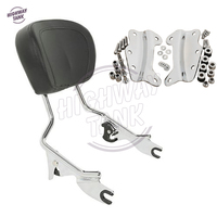 Motorcycle Black Backrest Sissy Bar 4 Point Docking Kit With Pad Case For Harley Street Glide