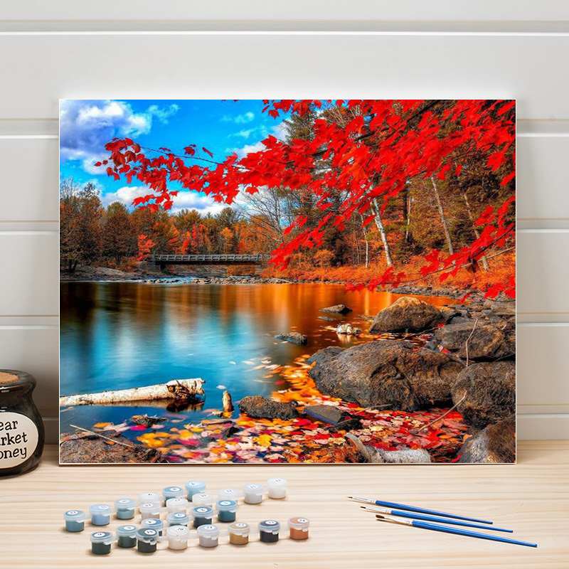 Paint Oil Painting By Numbers Landscape Nature DIY Acrylic On Canvas Coloring Art Wall Pictures For Living Room Adults Draw Kits