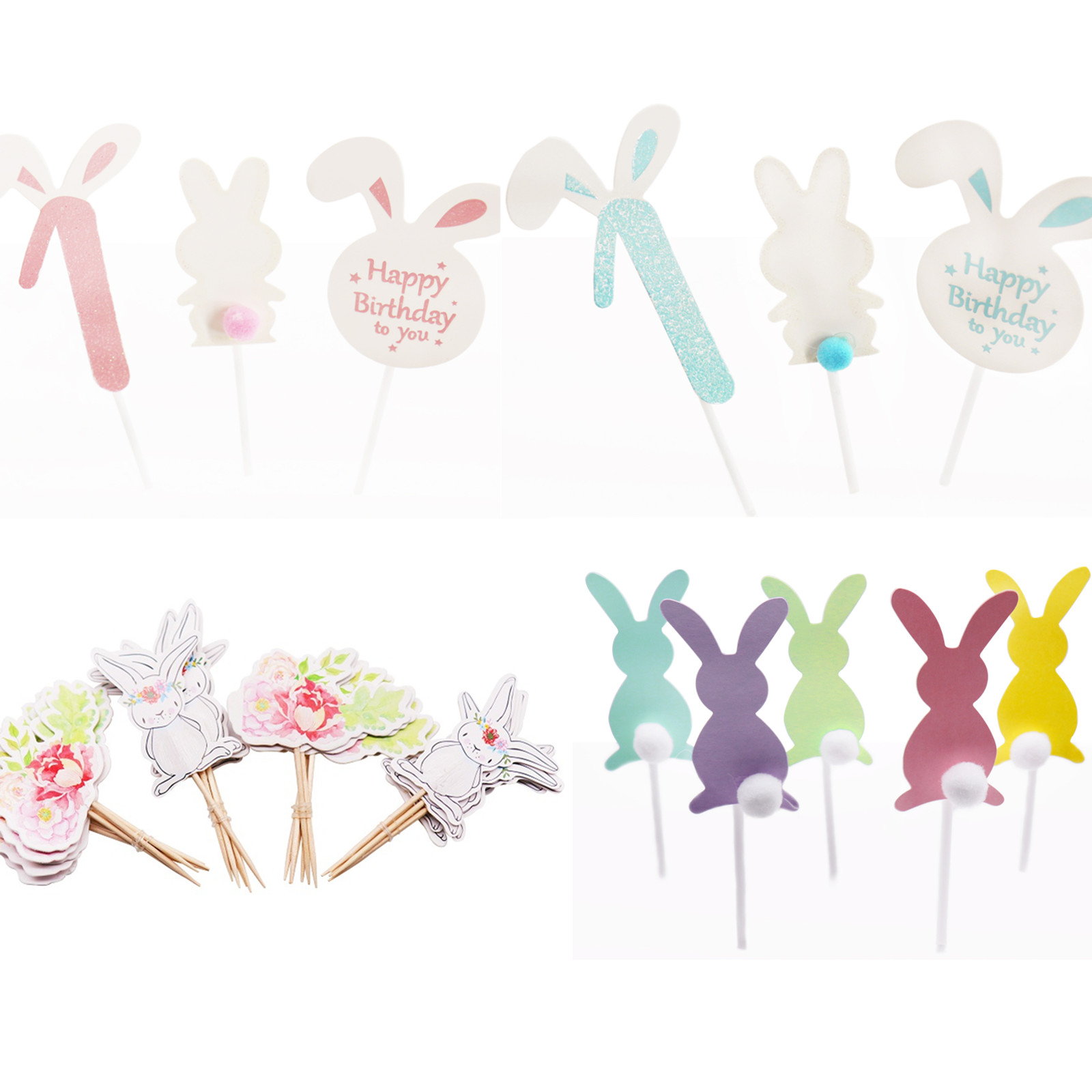 Pink/Blue Cute Cartoon Rabbit Cupcake toppers Girl/Boy 1st Birthday Number Cake flag Paper Baby Clothes Cake Decorations  Suppli