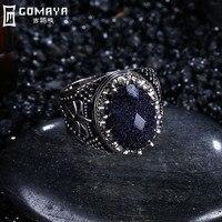 GOMAYA Fashion Blue Crystal 925 Sterling Silver Rings Retro Vintage Jewelry Female Ring Bijoux Wholesale Fine
