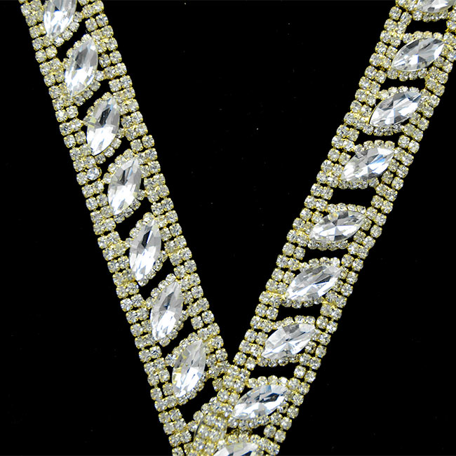 100Yards Crystal Rhinestone Chain Clear Trim Sewing Craft Silver Gold Brass