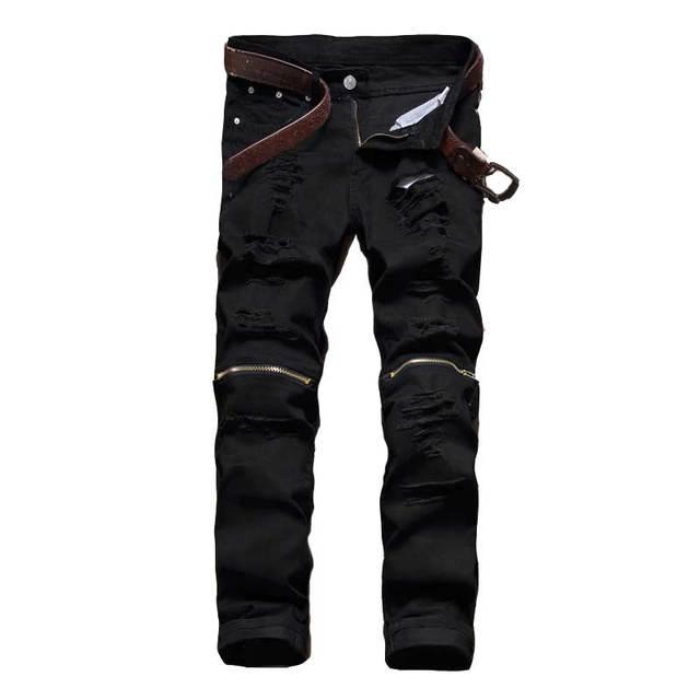 2018 Mâle Jeans Noir blanc rouge Zipper Genou Trou biker Jeans hommes  Marque Slim droite Détruits