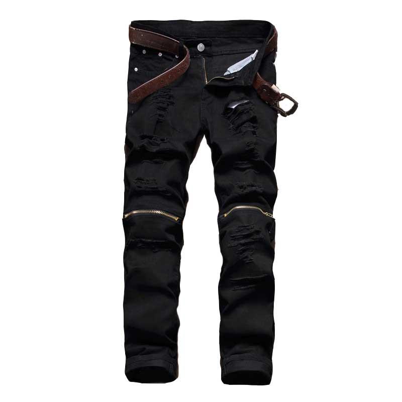 2018 Male Jeans Black White Red Zipper Knee Hole Biker Jeans Men Brand Slim Straight Destroyed Torn Jean Pants For Male Homme