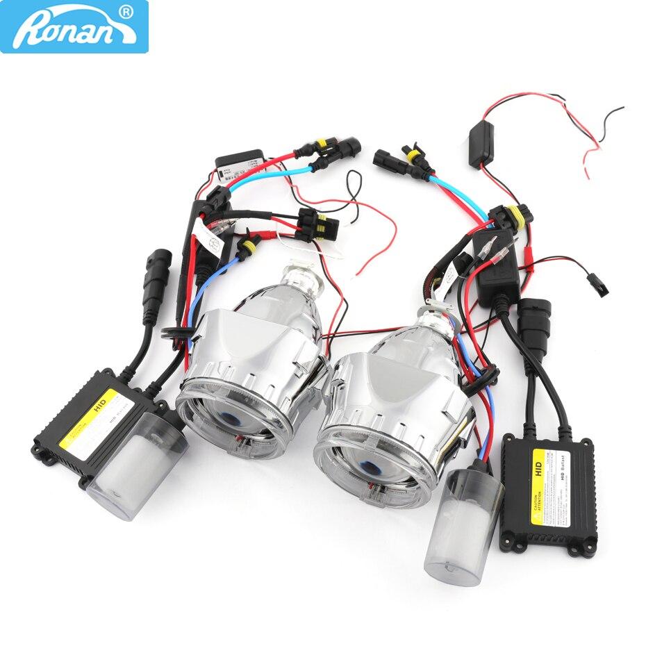 2dc63e423 RONAN سيارة التصميم العلوي التحديثية 2.5 بوصة HID ثنائية جهاز عرض مزود  بإضاءة زينون عدسة المصباح الأمامي H1 H4 H7 + البصرية الملاك عيون + زينون كيت