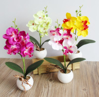 Free Shipping Quality Glass Vase Flowers Meters Orchid Artificial Flower Rose Set Home Decorative Flowers 2roses
