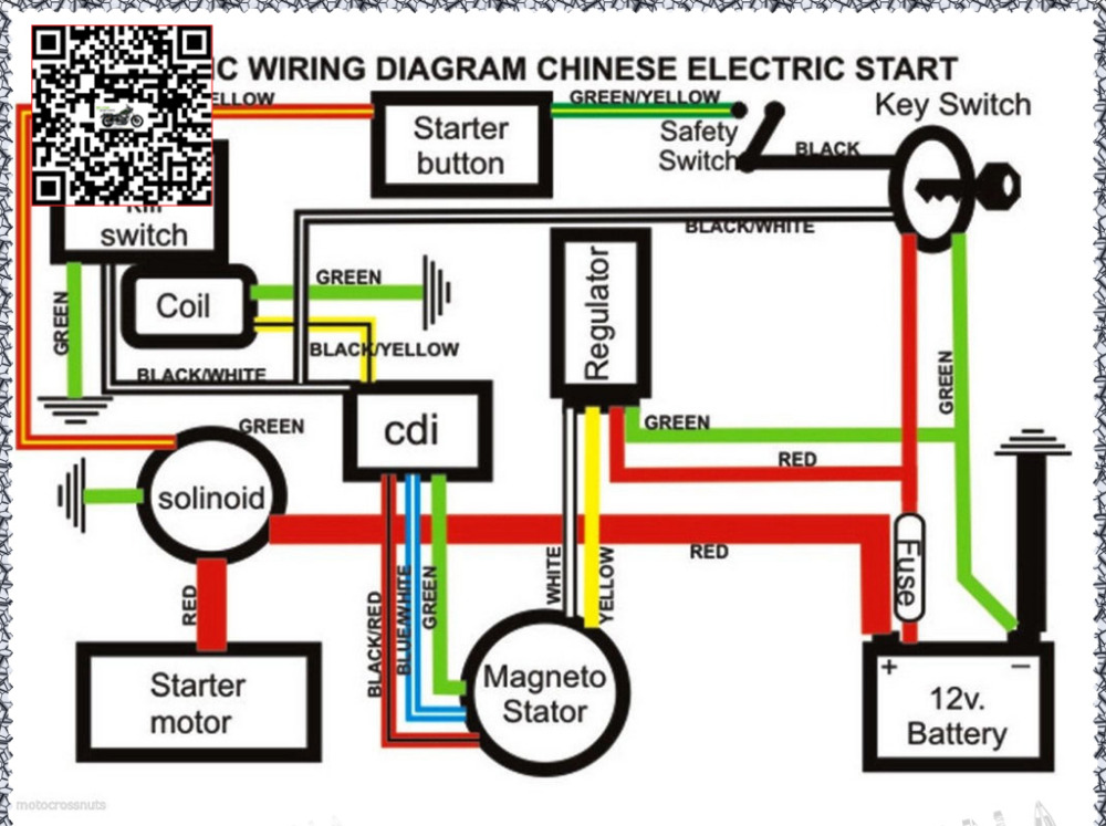 Chinese Atv Wiring Diagram 50cc 4 Pin Relay With Switch 70cc 110cc 125cc Quad Electric Full Set Parts Wire Cdi Ignition Coil Rely Rectifier Key Function Spark Plug In Accessories