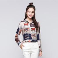 2017 New Summer Fashion Women Horse Print Shirts Office Lady Wear Tops Silk