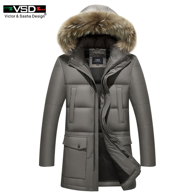 VSD 2017 Russian Winter Down Jacket Men's Casual Parkas High Quality Fur Hooded Thicken Warm Male Brand Middle Age Jackets VS089