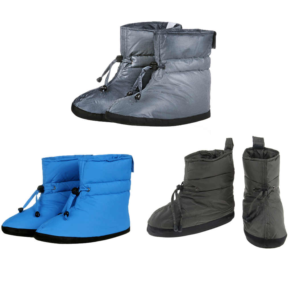 2ae4ff613 Men Women Duck Down Camping Slippers Soft Ultralight Winter Warm Pull On  Socks Booties Boots Feet