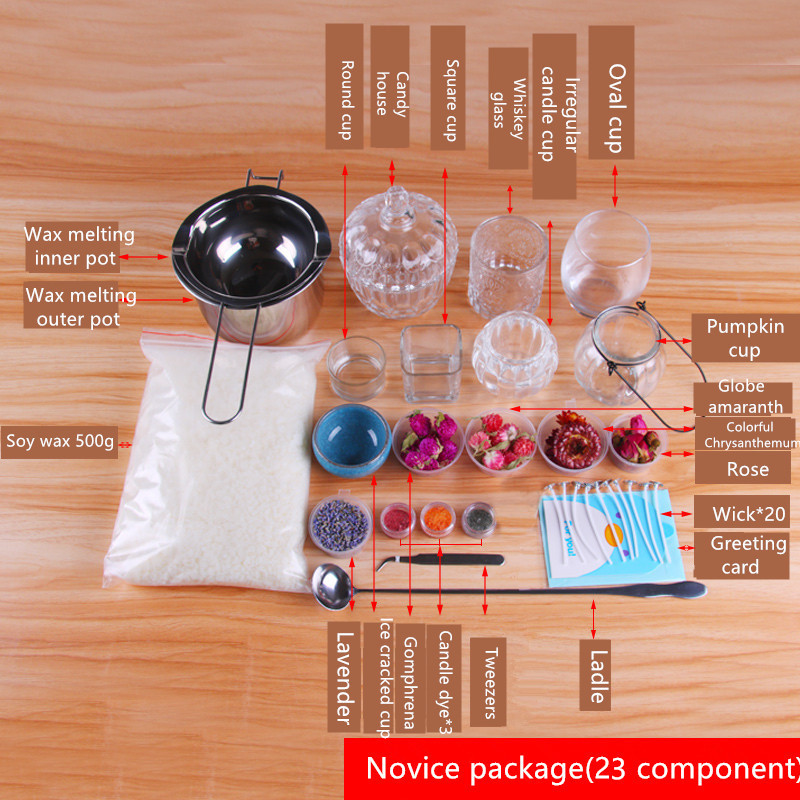 CHUANGGE bougie bricolage paquet ensemble cire de soja auto-fait bougie Kits paquet manuel outils de bricolage matériel aromathérapie Silicone moule - 4