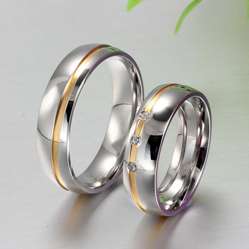 6 มม.แหวนคู่สแตนเลสเงินงานแต่งงานแหวนคริสตัลสำหรับคนรักโรแมนติก Elegant หมั้นเครื่องประดับ