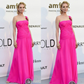 2016 New Arrival Celebrity Dresses One Shoulder Pleats 2016 Cannes Festive Red Carpet Dresses Chiffon Fuchsia Uma Thurman