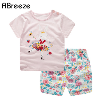 2019 New summer Newborn costumes cute Rabbit print baby girls clothes sets boys cotton 0-2Y baby clothing sets for boys & girls