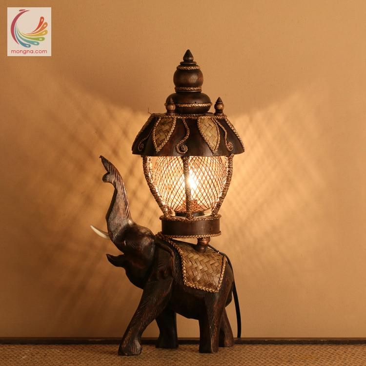 Туда настольная лампа Винтаж для классического дерева слон декоративные лампы Юго-Восточной Азии Стиль из дерева ручной работы в стиле рет...