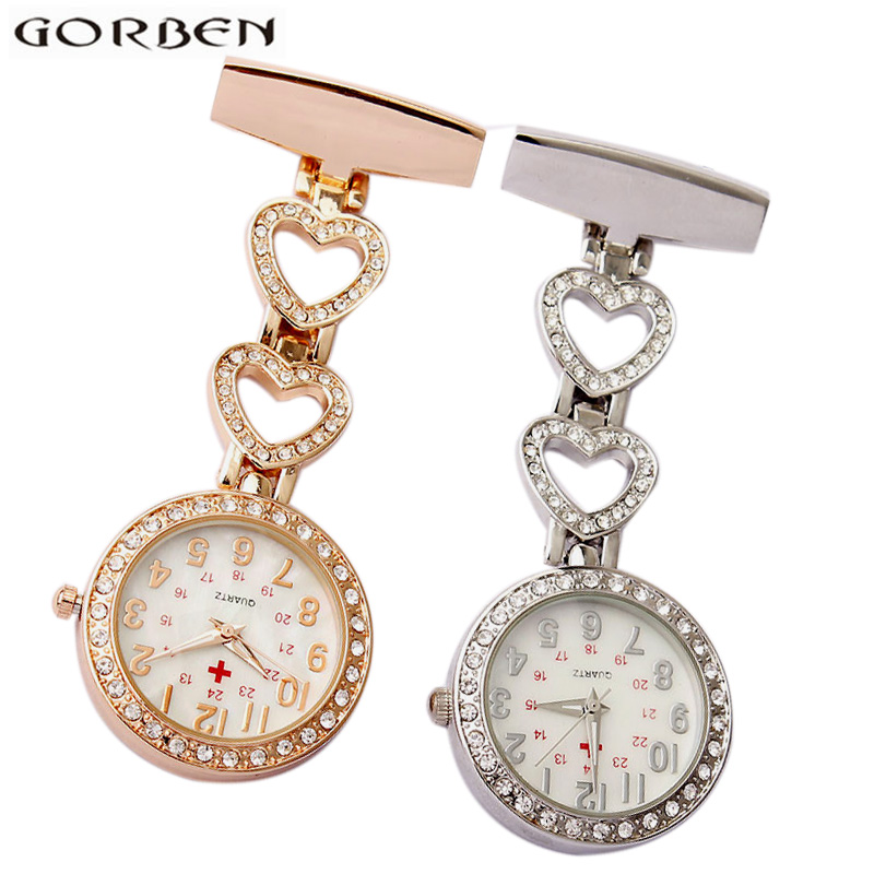 Paramedic Crystal Heart Shape Brooch Pin Clip-on Fob Nurse Watch Rose Gold Silver Hanging Red Cross Quartz Nursing Pocket Watch luxury crystal golden silver stainless steel nurses pin fob watch clip on hanging brooch round pocket watch men women relogio