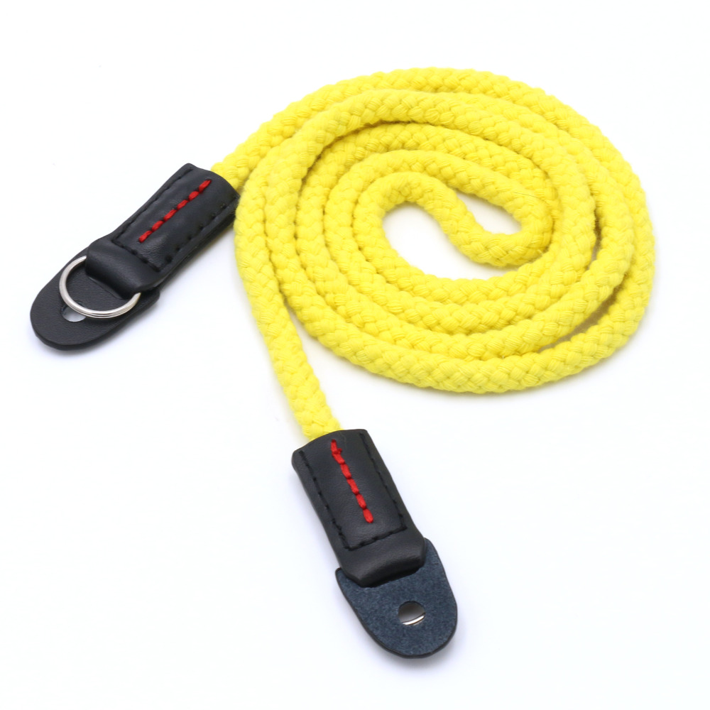 new arrive yellow Long rope woven shoulder strap real leather Cotton for all camera free shipping