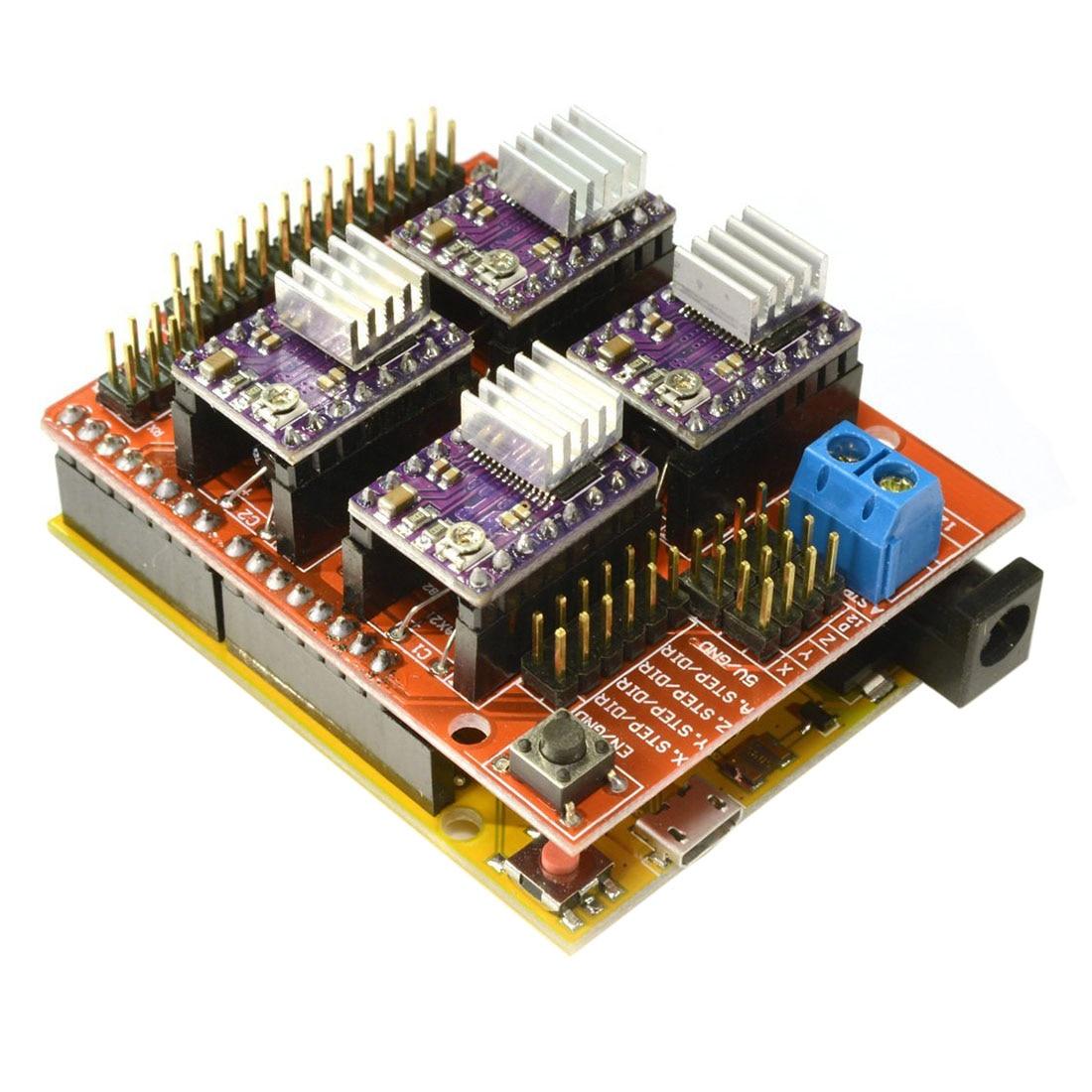 CNC V3 Shield + UNO R3 for Arduino Compatible Board + 4x TI DRV8825 StepStick Stepper Drivers Red+purple 4pcs drv8825 stepper motor driver heatsink cnc shield expansion board uno r3 board usb cable kits for arduino v3 3d printer